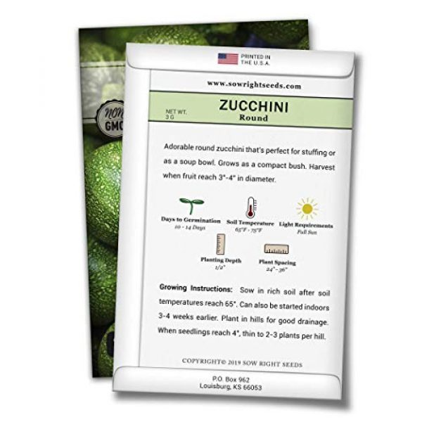 Sow Right Seeds Heirloom Seed 3 Sow Right Seeds - Zucchini Squash Seed Collection for Planting - Black Beauty, Grey, Round Zucchinis and Yellow Straightneck Summer Squash, Non-GMO Heirloom Seeds to Plant a Home Vegetable Garden