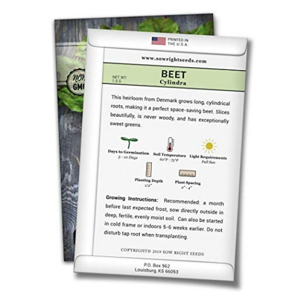 Sow Right Seeds Heirloom Seed 2 Sow Right Seeds - Cylindra Beet Seed for Planting - Non-GMO Heirloom Packet with Instructions to Plant a Home Vegetable Garden - Great Gardening Gift (1)