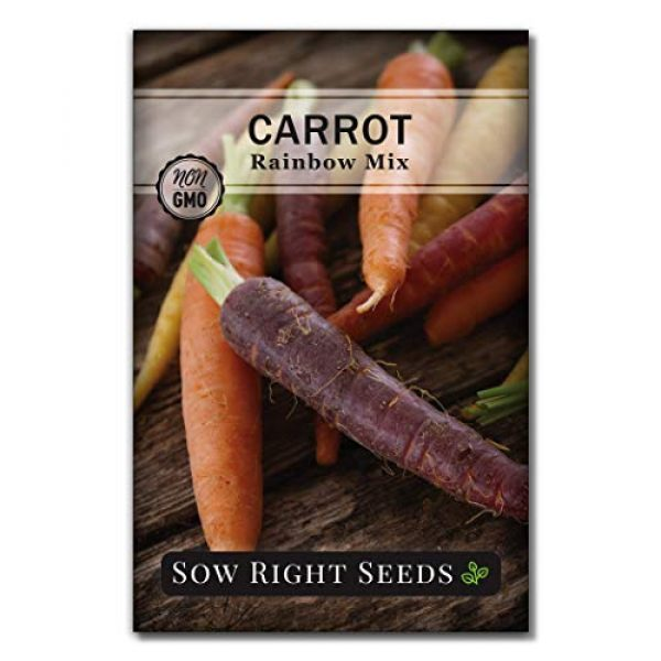 Sow Right Seeds Heirloom Seed 6 Sow Right Seeds - Carrot Seed Collection for Planting - Rainbow, Nantes, Imperator, and Kuroda Varieties. Non-GMO Heirloom Seeds to Plant a Home Vegetable Garden, Great Gardening Gift