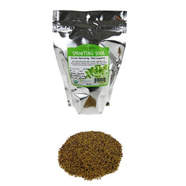 Handy Pantry Organic Seed 1 Organic Red Clover Sprouting Seeds by Handy Pantry Brand - 1 Lb Resealable Bag - Sprouts, Microgreens, Gardening, Food Storage, Hydroponics - Edible Seed