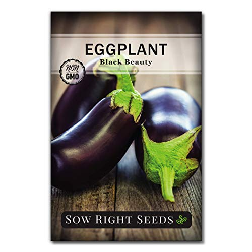 Sow Right Seeds  4 Sow Right Seeds - Eggplant Seed Collection for Planting - Black Beauty and Long Eggplant Varieties Non-GMO Heirloom Seeds to Plant an Outdoor Home Vegetable Garden - Great Gardening Gift