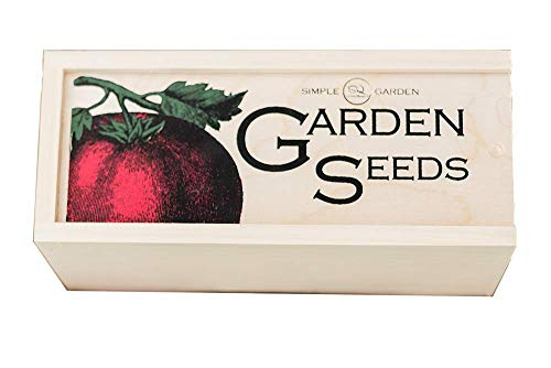 Simple Quality  1 Seed Storage Container and Organizer Box for Your Garden Seed Packets - Tall Size -11.75 L 5.1 Wide 6.5 H - Expertly Crafted in The U.S.A. with Vintage Heirloom Style Divider Cards to Organize Seeds