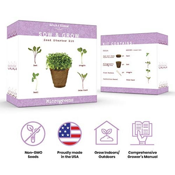 Nature's Blossom Organic Seed 2 Nature's Blossom Microgreen Vegetables Sprouting Kit - Beginner Gardeners Seed Starter Set to Grow Basil, beets, Chards and Arugula from Seeds. Grow from Seed to your Plate in 10 Days.