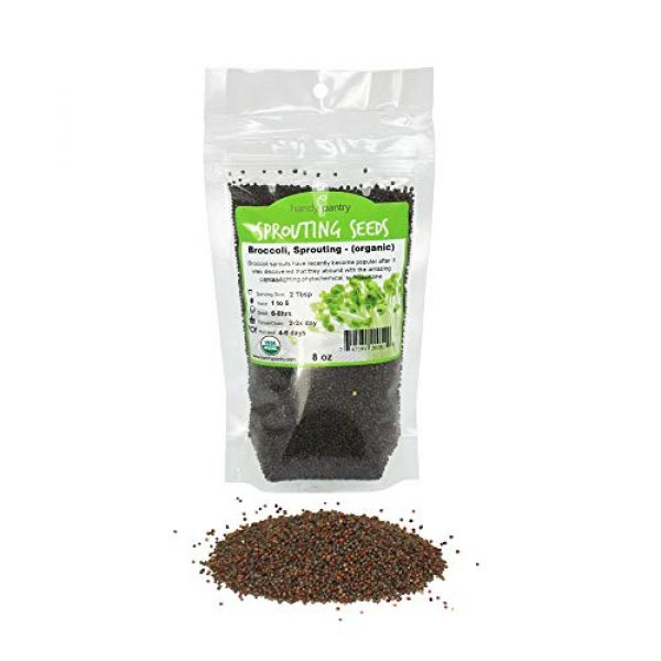 Handy Pantry Organic Seed 1 Organic Broccoli Sprouting Seeds By Handy Pantry | 8 oz. Resealable Bag | Non-GMO Broccoli Sprouts Seeds, Contains Sulforaphane
