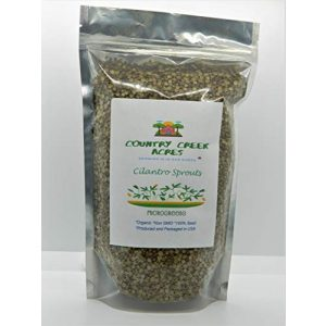 COUNTRY CREEK ACRES GROWING IS IN OUR ROOTS Organic Seed 1 Cilantro Seed, Sprouting Seeds, Microgreen, Sprouting, 10 OZ, Organic Seed, Non GMO - Country Creek Acres Brand - High Sprout Germination- Juicing, Gardening, Hydroponics, Growing Salad Sprouts