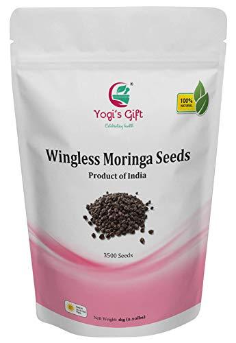 YOGIS GIFT Celebrating health  1 Yogi's Gift - Moringa Organic Seeds Without Wings 2.20 lbs ~Approx 3500 Seeds | Fresh & Perfect Seeds for Eating | Indian Origin | Non-GMO | Semilla de Moringa | Wingless Moringa Seeds