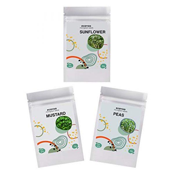 ECOVOO Organic Seed 1 Organic Microgreen Seeds Salad Mix - Non-GMO Microgreen Seed Mix Pea, Sunflower, Mustard - Microgreens Seed Mix - Microgreen Organic Seeds - Microgreen Seeds for Sprouting