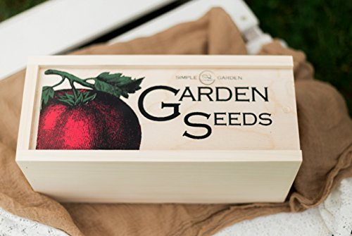 Simple Quality  4 Seed Storage Container and Organizer Box for Your Garden Seed Packets - Tall Size -11.75 L 5.1 Wide 6.5 H - Expertly Crafted in The U.S.A. with Vintage Heirloom Style Divider Cards to Organize Seeds