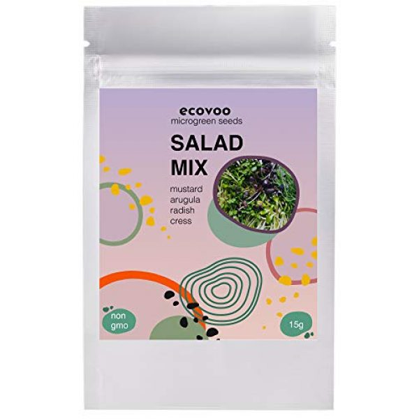 ECOVOO Organic Seed 1 Organic Microgreen Seeds Salad Mix - Non-GMO Microgreen Seed Mix Mustard, Radish, Arugula, Cress - 3500+ Microgreen Mix Seeds - Microgreen Organic Seeds - Microgreen Salad Mix Seeds for Sprouting