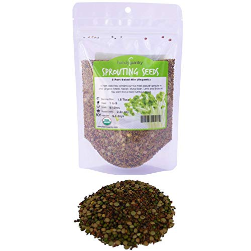 Handy Pantry Organic Seed 1 8 Oz - Handy Pantry 5 Part Salad Sprout Mix - Organic Non-GMO Mixed Seeds - Organic Broccoli Sprouting Seeds, Radish Sprout Seeds, Alfalfa Sprout Seeds, Lentil Seeds, and Mung Bean Seeds for Sprouting