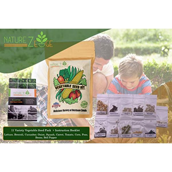 NatureZ Edge Heirloom Seed 2 NatureZ Edge Garden Seeds Vegetable Variety Seed Pack, 11 Varieties of Heirloom Vegetable Gardening Seeds for Planting, 4800+ Seeds for Gardening Vegetables,Non-GMO