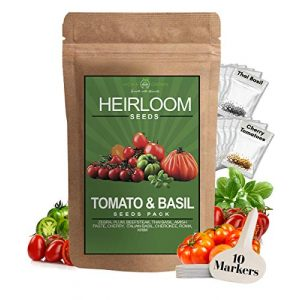 HOME GROWN Heirloom Seed 1 Heirloom 8 Tomato Seeds and 2 Basil Herb Pack   Non GMO   Zebra, Roma, Yellow Plum, Amish Paste, Cherry, Cherokee, Beefsteak, Krim, Italian Basil, Thai Basil   Plant Markers and Instructions Included