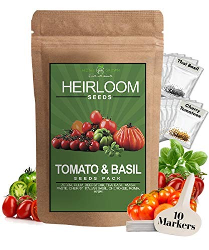 HOME GROWN  1 Heirloom 8 Tomato Seeds and 2 Basil Herb Pack | Non GMO | Zebra