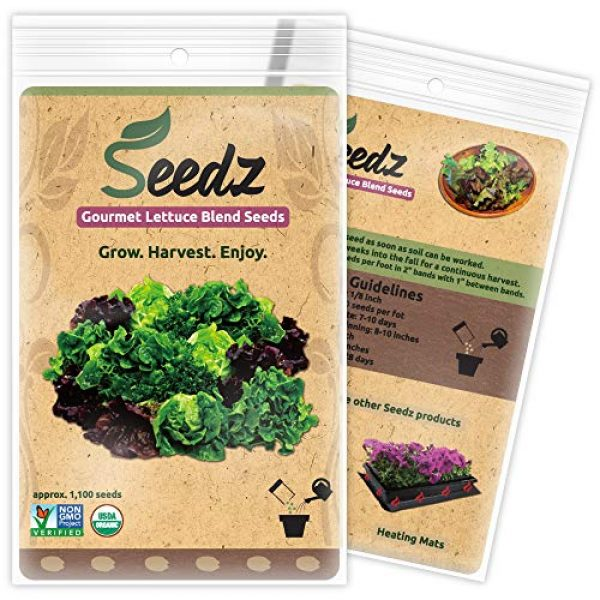 Seedz Organic Seed 1 Organic Lettuce Seeds, APPR. 1,100, Lettuce Blend, Heirloom Vegetable Seeds, Certified Organic, Non GMO, Non Hybrid, USA