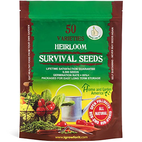 Grow For It  1 Heirloom Vegetable Seeds Non GMO Survival Seed Kit - Part of Our Legacy and Heritage - 50 Varieties 100% Naturally Grown- Best for Gardeners Who Raise Their Own Healthy Food