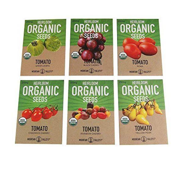 Mountain Valley Seed Company Organic Seed 1 6 Varieties Non-GMO Heirloom Organic Cherry Tomato Seeds Yellow Pear Tomato Seeds, Black Cherry Seeds, Roma Tomato Seeds Organic, Rainbow Cherry Tomatoes, Green Zebra Tomato Seeds, Chadwick Cherry