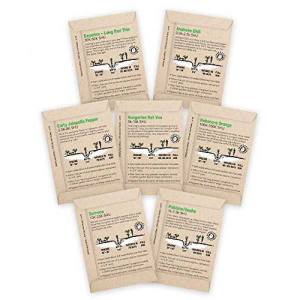 Sustainable Sprout Organic Seed 2 Hot Pepper Seeds Variety Pack - 100% Non GMO Habanero, Jalapeno, Cayenne, Anaheim, Hungarian Hot Wax, Serrano, Poblano. Heirloom Chili Pepper Seeds for Planting in Your Organic Garden