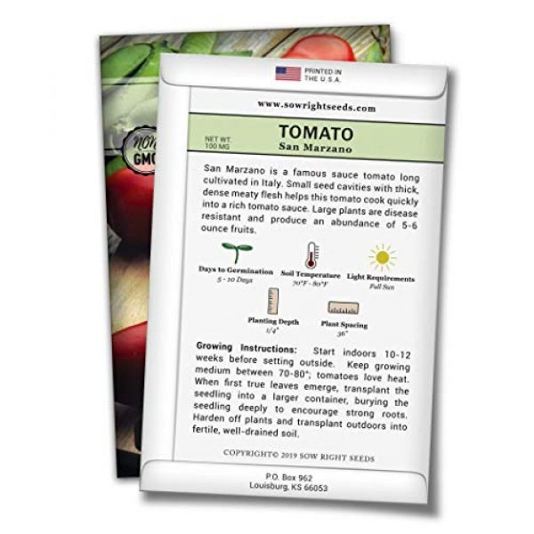 Sow Right Seeds Heirloom Seed 2 Sow Right Seeds - San Marzano Tomato Seed for Planting - Non-GMO Heirloom Packet with Instructions to Plant a Home Vegetable Garden - Great Gardening Gift (1)