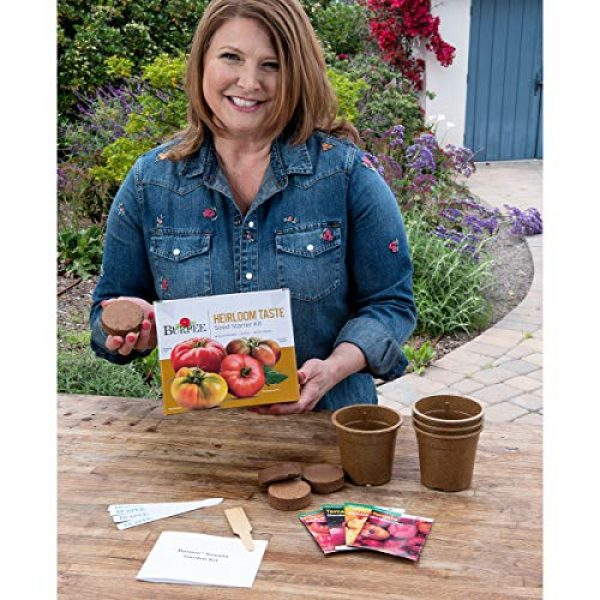 Burpee Heirloom Seed 5 Burpee Heirloom Taste Starting Kit Mortgage Lifter, Cherokee Purple, Big Rainbow & Brandywine Pink | 4 Beefsteak Tomato Seed Packets, 4 Pots, 4 Coir Pellets & 4 Plant Markers