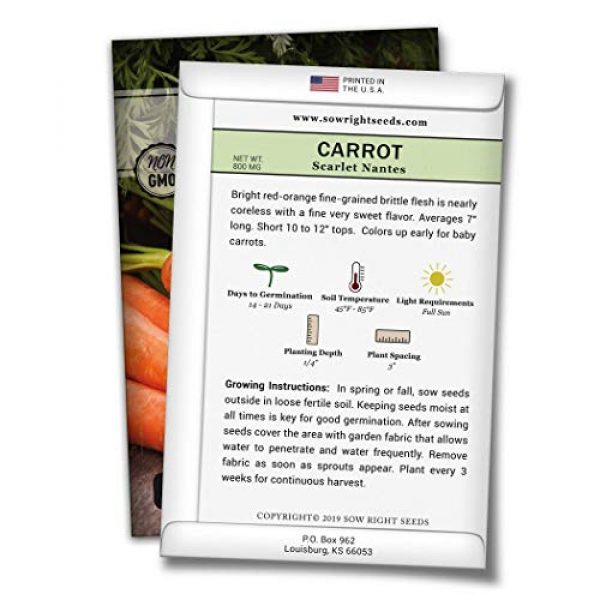 Sow Right Seeds Heirloom Seed 2 Sow Right Seeds - Scarlet Nantes Carrot Seed for Planting - Non-GMO Heirloom Packet with Instructions to Plant a Home Vegetable Garden, Indoors or Outdoor; Great Gardening Gift (1)