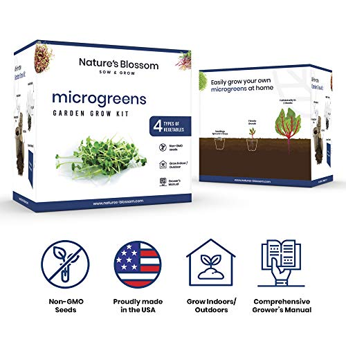 Nature's Blossom Organic Seed 2 Nature's Blossom Microgreen Vegetables Sprouting Kit. Beginner Gardeners Seed Starter Kit to Grow 4 Types of Vegetable Sprouts Indoors. Complete DIY Home Gardening Set