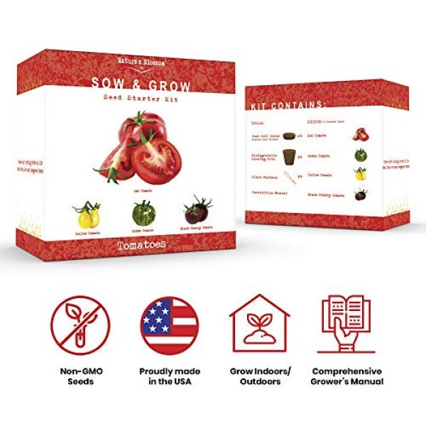 Nature's Blossom Organic Seed 4 Nature's Blossom Tomato Garden Kit. Grow 4 Types of Tomatoes from Seed. Gardening Starter Set For Growing Unusual Tomatoes; Sweet Red Tomato, Black Cherry, Yellow Pear Tomato and Green Zebra Tomatoes.