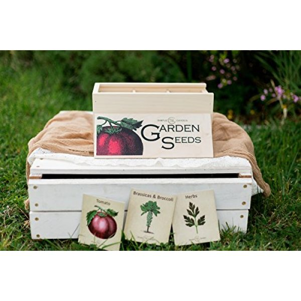 Simple Quality Seed Storage Box 2 Seed Storage Container and Organizer Box for Your Garden Seed Packets - Tall Size -11.75 L 5.1 Wide 6.5 H - Expertly Crafted in The U.S.A. with Vintage Heirloom Style Divider Cards to Organize Seeds
