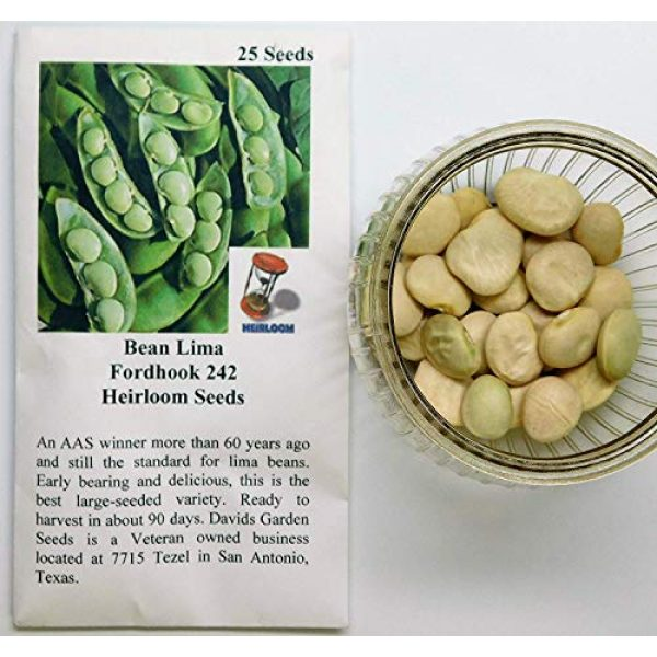 David's Garden Seeds Heirloom Seed 2 David's Garden Seeds Bean Lima Fordhook 242 SL4949 (Green) 25 Non-GMO, Heirloom Seeds
