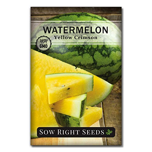 Sow Right Seeds  1 Sow Right Seeds - Yellow Crimson Sweet Watermelon Seed for Planting - Non-GMO Heirloom Packet with Instructions to Plant a Home Vegetable Garden - Great Gardening Gift (1)