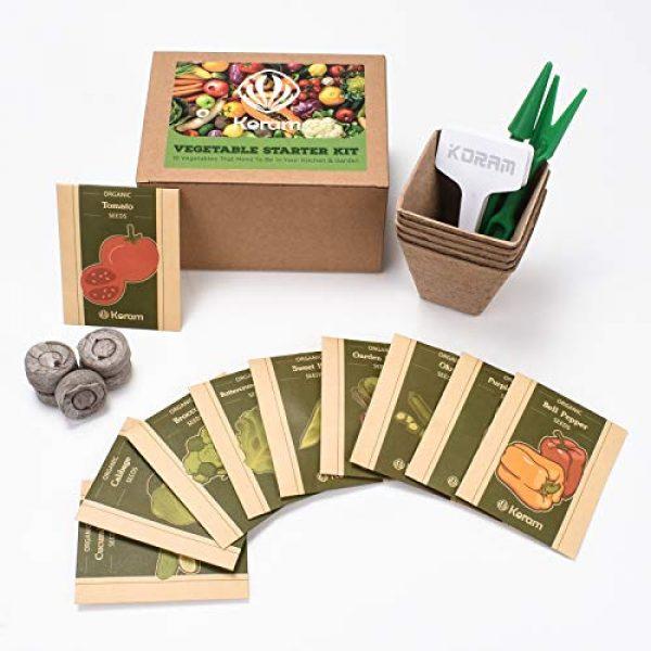 KORAM Organic Seed 1 Vegetable Seed Starter Kit, KORAM 10 Organic Garden Vegetable Seeds for Indoor Planting, Pots Kitchen Gardening Grow Kits Gift for Gardening Beginner