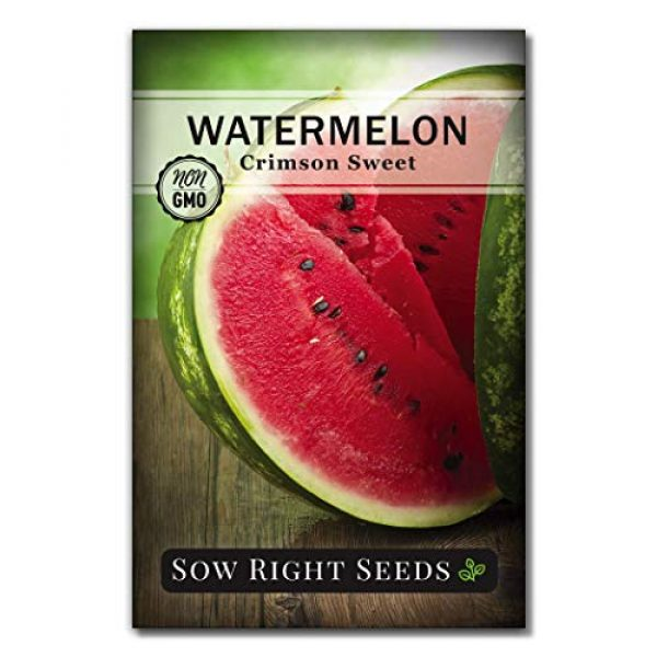 Sow Right Seeds Heirloom Seed 1 Sow Right Seeds - Crimson Sweet Watermelon Seed for Planting - Non-GMO Heirloom Packet with Instructions to Plant a Home Vegetable Garden - Great Gardening Gift (1)