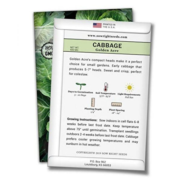 Sow Right Seeds Heirloom Seed 2 Sow Right Seeds - Golden Acre Cabbage Seed for Planting - Non-GMO Heirloom Packet with Instructions to Plant an Outdoor Home Vegetable Garden - Great Gardening Gift (1)