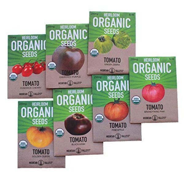 Mountain Valley Seed Company Organic Seed 1 7 Varieties Non-GMO Organic Heirloom Tomato Seeds - Chadwick Cherry Tomato Seeds, Green Zebra, Black Krim Tomato Seeds, Golden Queen, Cherokee Purple Seeds, Brandywine Pink Tomato Seeds, Pineapple