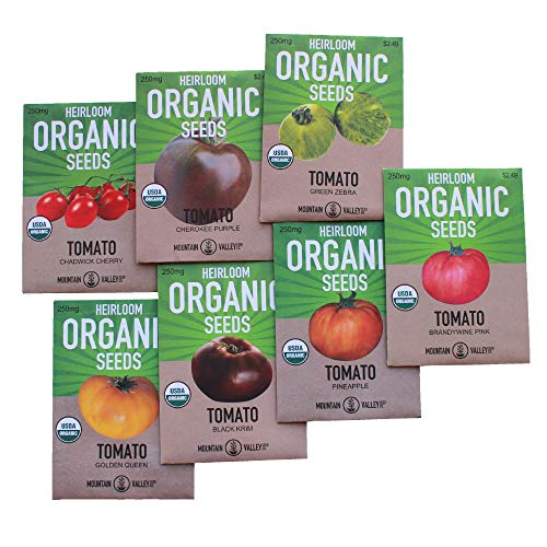 Mountain Valley Seed Company  1 7 Varieties Non-GMO Organic Heirloom Tomato Seeds - Chadwick Cherry Tomato Seeds