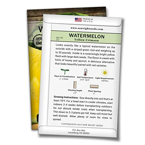 Sow Right Seeds  2 Sow Right Seeds - Yellow Crimson Sweet Watermelon Seed for Planting - Non-GMO Heirloom Packet with Instructions to Plant a Home Vegetable Garden - Great Gardening Gift (1)