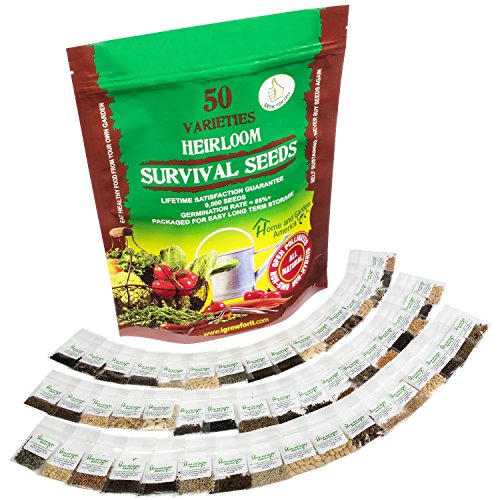 Grow For It  3 Heirloom Vegetable Seeds Non GMO Survival Seed Kit - Part of Our Legacy and Heritage - 50 Varieties 100% Naturally Grown- Best for Gardeners Who Raise Their Own Healthy Food