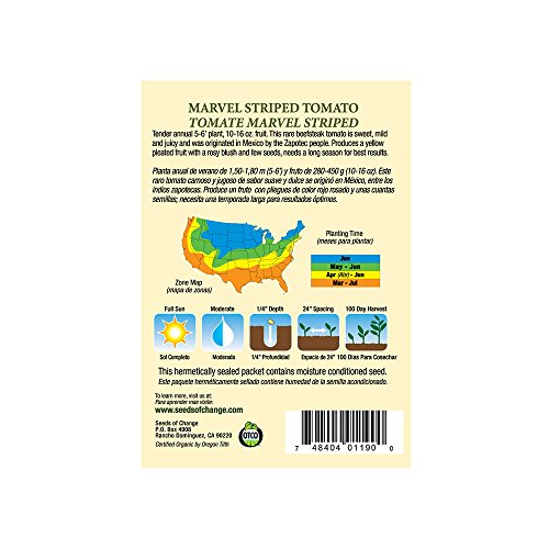 SEEDS OF CHANGE  3 Seeds of Change S10768 Certified Organic Marvel Striped Heirloom Tomato