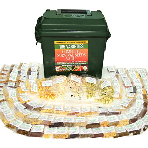 Grow For It  1 Heritage Survival Seed Vault 25 Year Storage Life. Fruit Herb and Vegetable Heirloom Seeds. 85% Germination Success for Doomsday Preparedness Peace of Mind. Emergency Supplies in a .30 Cal Ammo Box.