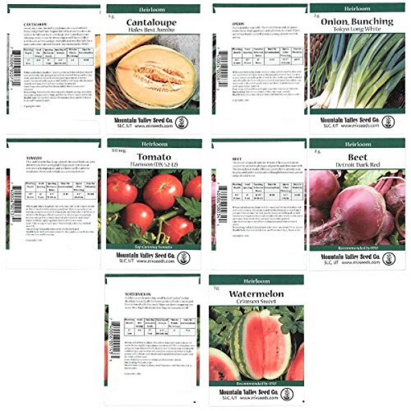 Mountain Valley Seed Company Heirloom Seed 5 Heirloom Vegetable Garden Seed Collection Assortment of 15 Non-GMO, Easy Grow, Gardening Seeds: Carrot, Onion, Tomato, Pea, Cucumber, Beets, Basil, More