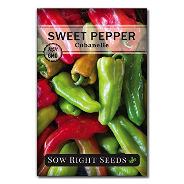 Sow Right Seeds Heirloom Seed 1 Sow Right Seeds - Cubanelle Pepper Seed for Planting - Non-GMO Heirloom Packet with Instructions to Plant an Outdoor Home Vegetable Garden - Great Gardening Gift (1)