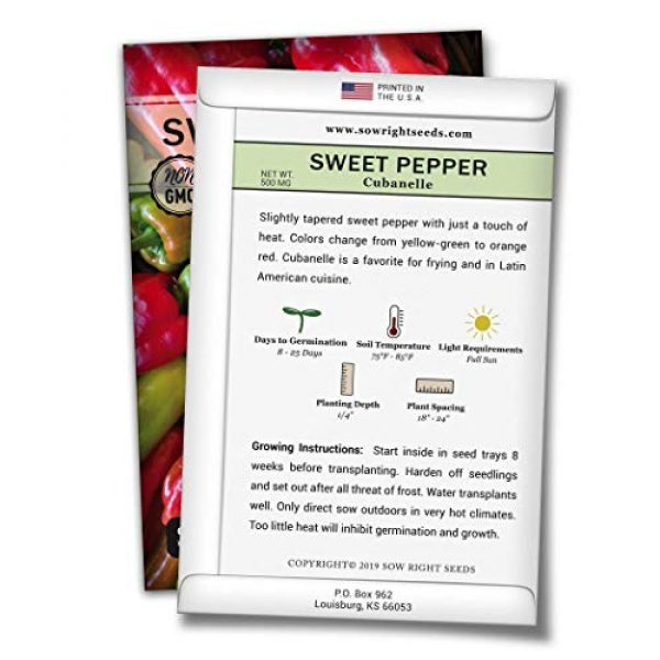 Sow Right Seeds Heirloom Seed 2 Sow Right Seeds - Cubanelle Pepper Seed for Planting - Non-GMO Heirloom Packet with Instructions to Plant an Outdoor Home Vegetable Garden - Great Gardening Gift (1)