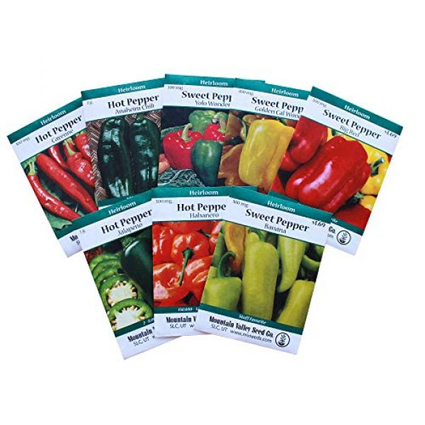 Mountain Valley Seed Company Heirloom Seed 1 8-Pack Non-GMO Heirloom Sweet Pepper Seeds & Hot Pepper Seeds - Anaheim Pepper Seeds, Habanero Seeds, Banana Pepper Seeds, Bell Pepper Seeds, Jalapeno Seeds, Cayenne Pepper Seeds, Green Pepper Seeds