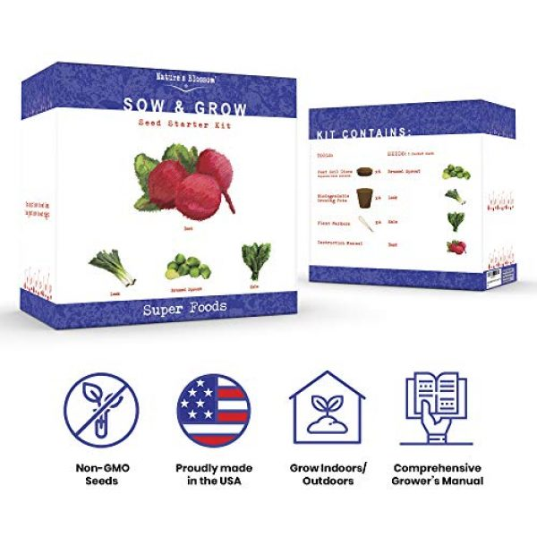 Nature's Blossom Organic Seed 2 Grow 4 of The Healthiest Vegetables from Seed - Brussel Sprouts, Kale, Beets & Leeks. Superfood Sprout Kit W/Soil, Organic Planters. Outdoor Garden Gift for Beginner Gardeners, Vegans, Vegetarians