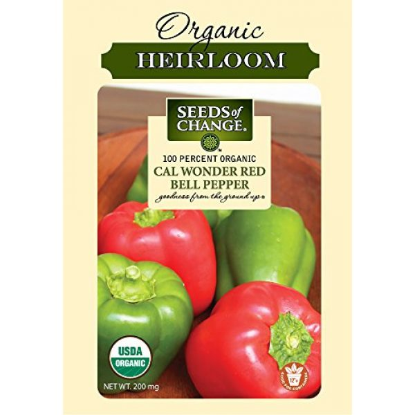 SEEDS OF CHANGE Organic Seed 1 Seeds of Change Certified Organic Cal Wonder Red Bell Pepper