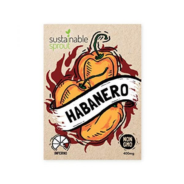 Sustainable Sprout Organic Seed 5 Hot Pepper Seeds Variety Pack - 100% Non GMO Habanero, Jalapeno, Cayenne, Anaheim, Hungarian Hot Wax, Serrano, Poblano. Heirloom Chili Pepper Seeds for Planting in Your Organic Garden
