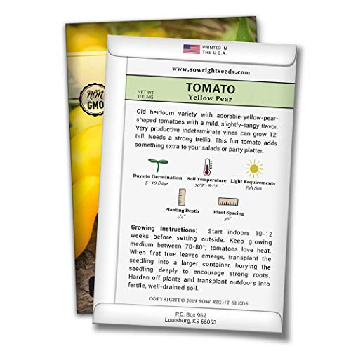 Sow Right Seeds  2 Sow Right Seeds - Yellow Pear Tomato Seed for Planting - Non-GMO Heirloom Packet with Instructions to Plant a Home Vegetable Garden - Great Gardening Gift (1)