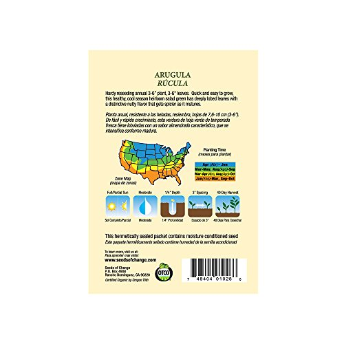 SEEDS OF CHANGE  3 Seeds of Change Certified Organic Arugula