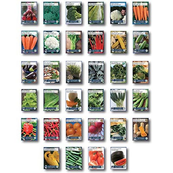 Sustainable Seed Company Heirloom Seed 3 22,000 Non GMO Heirloom Vegetable Seeds, Survival Garden, Emergency Seed Vault, 34 VAR, Bug Out Bag - Beet, Broccoli, Carrot, Corn, Basil, Pumpkin, Radish, Tomato, More
