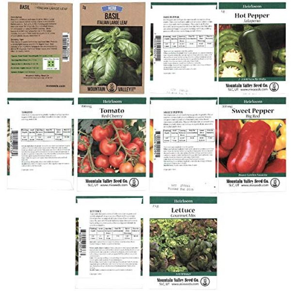 Mountain Valley Seed Company Heirloom Seed 6 Heirloom Vegetable Garden Seed Collection Assortment of 15 Non-GMO, Easy Grow, Gardening Seeds: Carrot, Onion, Tomato, Pea, Cucumber, Beets, Basil, More