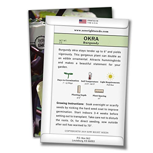 Sow Right Seeds  2 Sow Right Seeds - Burgundy Okra Seed for Planting - Non-GMO Heirloom Packet with Instructions to Plant a Home Vegetable Garden - Great Gardening Gift (1)